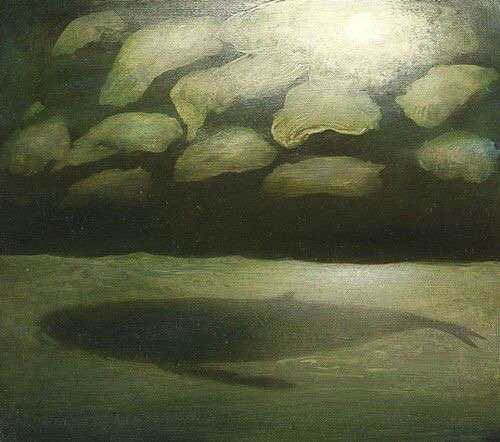 Illustration: WHALE SWIMMING BENEATH THE MOON by Richard Cartwright, via Helen Warlow on Twitter