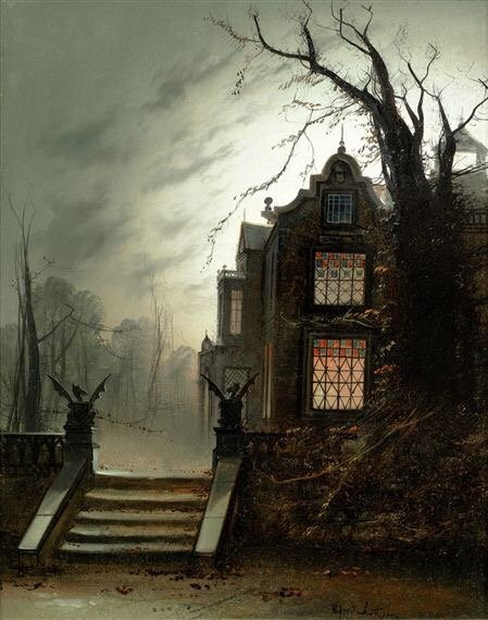 Gothic-style illustration of an old manor house by Wildred Jenkins; via Helen Warlow on Twitter