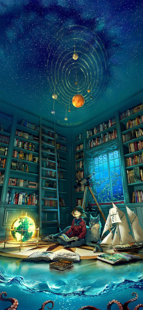 Illustration showing the imaginative power of books and reading.