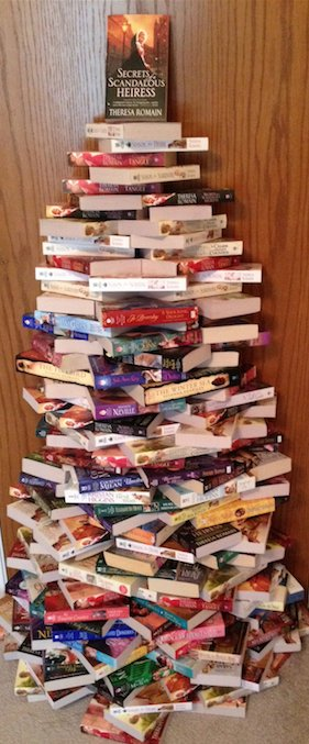 "A holiday ""book-tree"" made by Theresa Romain, author of historical romance."