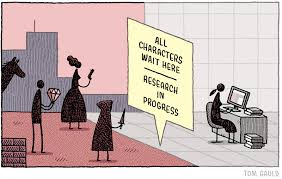 """All characters wait here"": a comic by Tom Gauld."