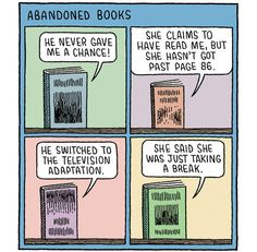 Cartoon by Tom Gauld: Abandoned Books