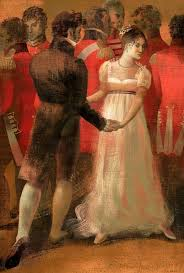 An illustration of Elizabeth Bennet and Mr. Darcy dancing, by Anna and Elena Balbusso. From Jane Austen's PRIDE AND PREJUDICE (The Folio Society)