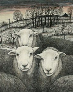 "Painting by Seren Bell: ""Hardwick Ewes."""