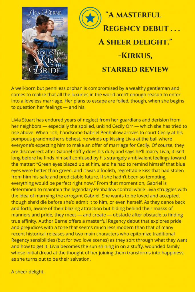 Infographic: the starred Kirkus review for You May Kiss the Bride by Lisa Berne (Avon Books, April 2017)