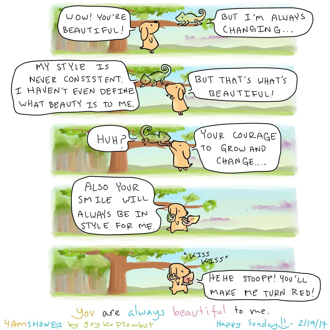 """Comic: """"You are always beautiful to me"""" by Guy Kopsombut"""