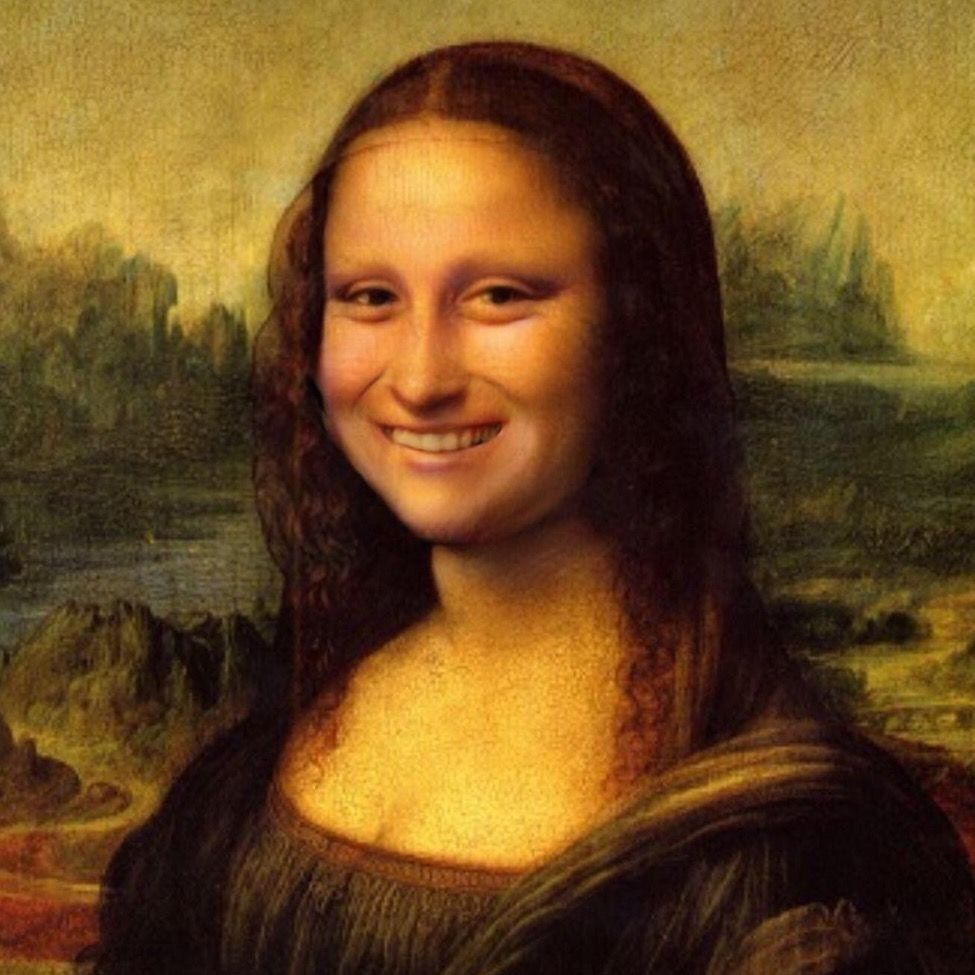 Image: the famous portrait of Mona Lisa, but modified so that she's grinning