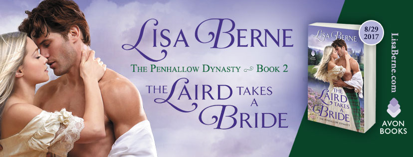 Graphic: Facebook banner for The Laird Takes a Bride by Lisa Berne (Avon Books)