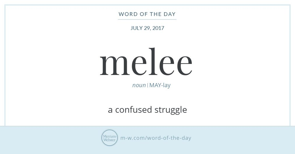 "Graphic: ""melee"" and its definition, via Merriam-Webster. www.Lisa Berne.com"
