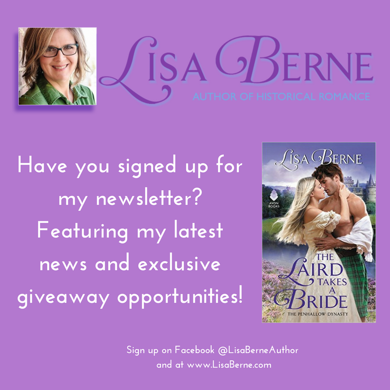 Graphic: Have you signed up for my newsletter? Featuring my latest news and exclusive giveaway opportunities! www.LisaBerne.com