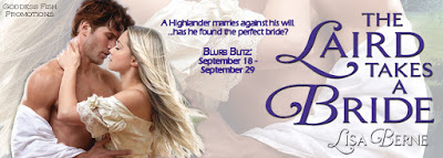 Image: Goddess Fish tour banner for The Laird Takes a Bride by Lisa Berne (Avon Books)