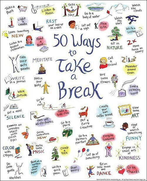 "Illustration: ""50 Ways to Take a Break"""