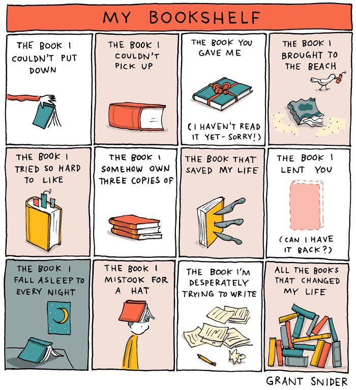 "Comic: ""My Bookshelf"" by Grant Snider"