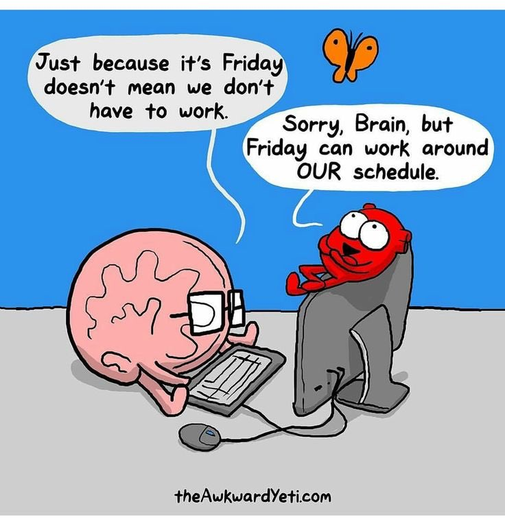 "Comic by the Awkward Yeti: ""Just because it's Friday . . ."""
