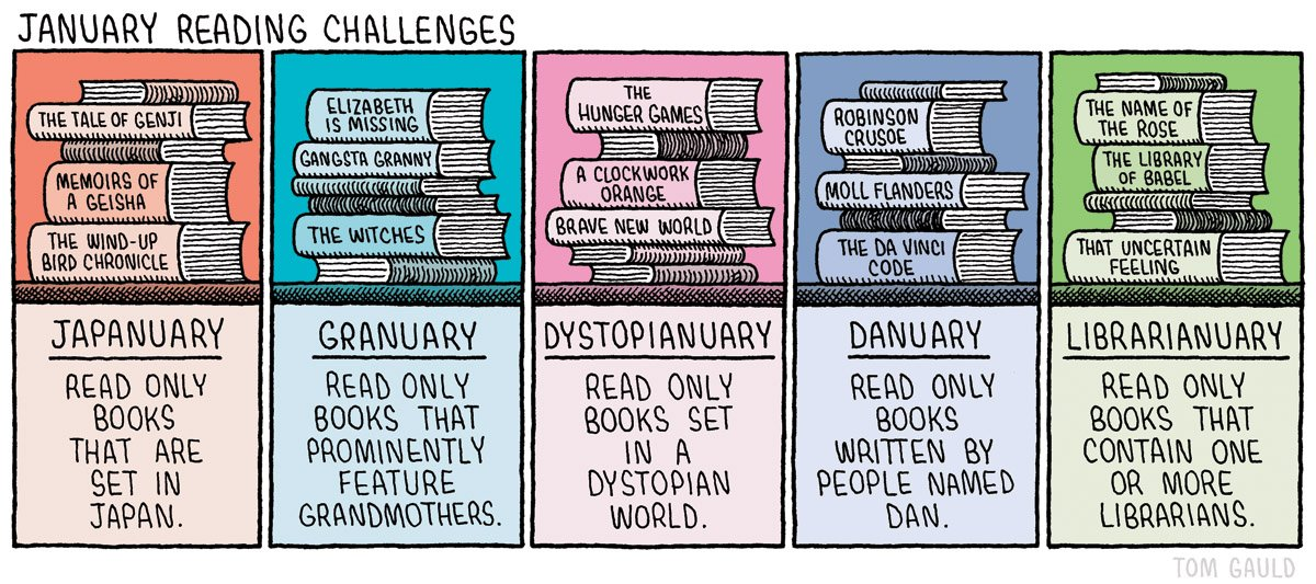"Comic: ""January Reading Challenges"" via Tom Gauld"