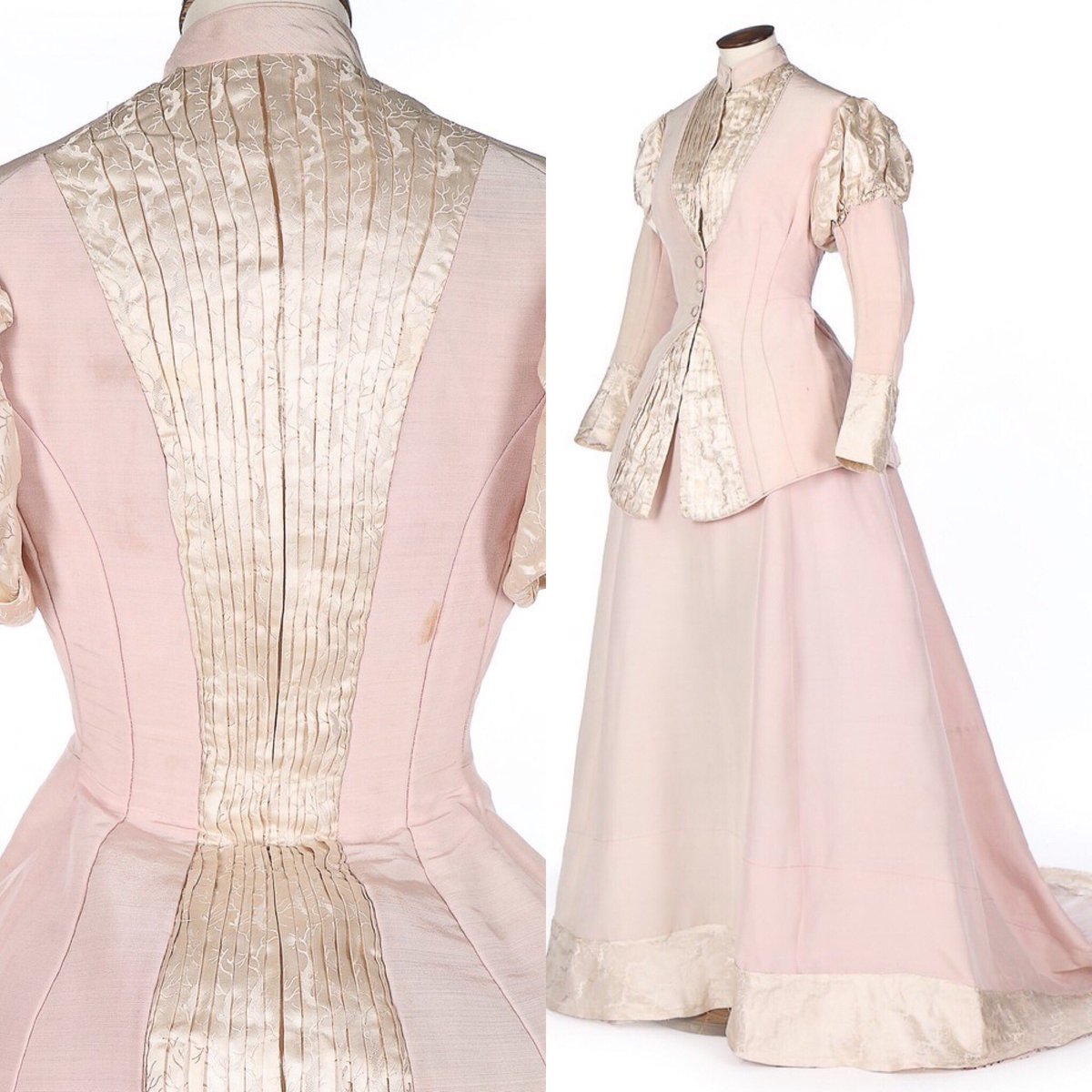 Photo: 1870s ensemble in pink silk and damask