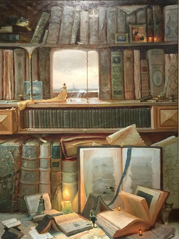 A book-themed painting by Valentin Rekunenko