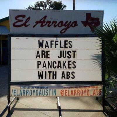 """Graphic: """"Waffles are just pancakes with abs"""""""