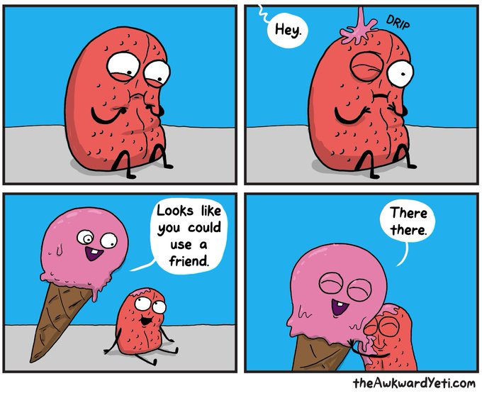 "Comic: ""Looks like you could use a friend"" by the Awkward Yeti"