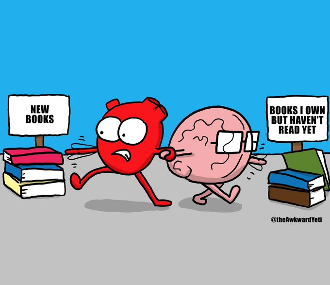 "Comic: ""New books"" by the Awkward Yeti"