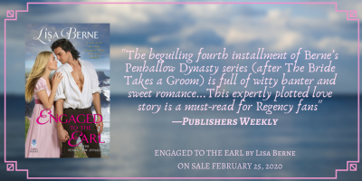 Graphic: Publishers Weekly review of Engaged to the Earl by Lisa Berne (Avon Books)