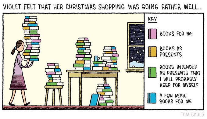 "Comic: ""Violet felt her Christmas shopping was going rather well."" By Tom Gauld; shared via LIsaBerne.com"