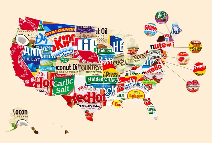 Graphic: favorite condiments by state, via Mental Floss; shared by LisaBerne.com