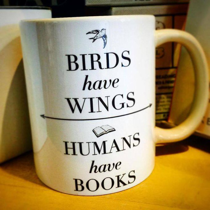 "Photo: mug: ""Birds have wings, humans have books,"" shared via LisaBerne.com"