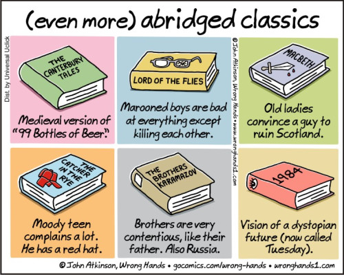 """(even more) abridged classics"": a comic by John Atkinson, Wrong Hands"