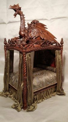 Photo: a miniature dragon bed made by Michael Reynolds.