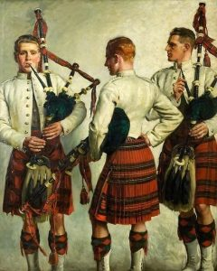 """Pipe Practice"" by William Bruce Ellis Ranken (1918): a painting of three men with bagpipes."