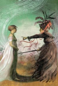 An illustration of Elizabeth Bennet being confronted by Lady Catherine, by Anna and Elena Balbusso. From Jane Austen's PRIDE AND PREJUDICE (The Folio Society)