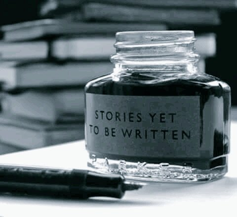 Photo: an old-fashioned pen and an inkpot labeled STORIES YET TO BE WRITTEN