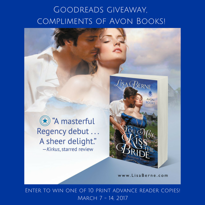 Graphic: Goodreads giveaway for You May Kiss the Bride by Lisa Berne, compliments of Avon Books