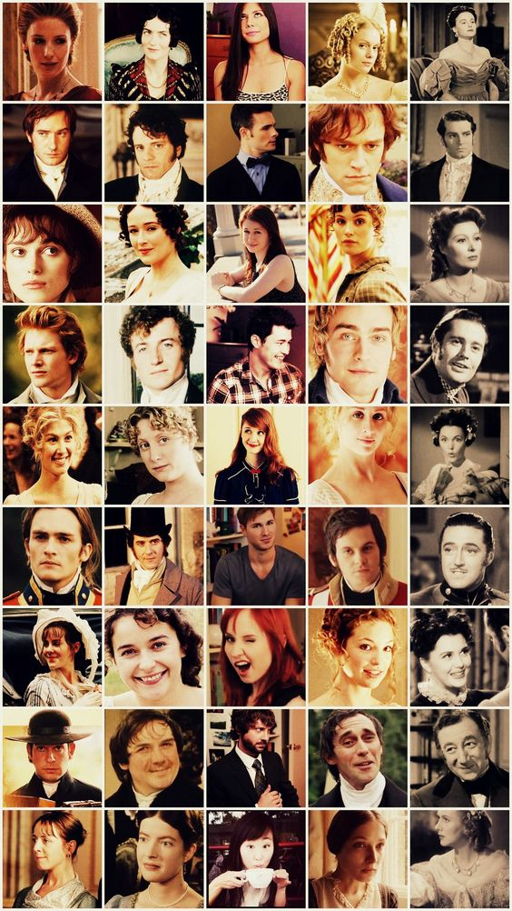 graphic: the casts of various productions of Jane Austen's Pride and Prejudice