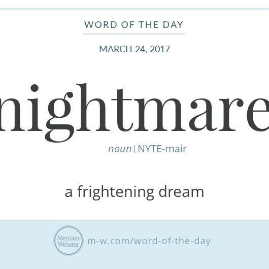 "Graphic: ""nightmare"" and its definition, via Merriam-Webster"