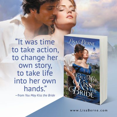 """Graphic: """"It was time to take action,"""" a quote from You May Kiss the Bride by Lisa Berne (Avon Books)"""