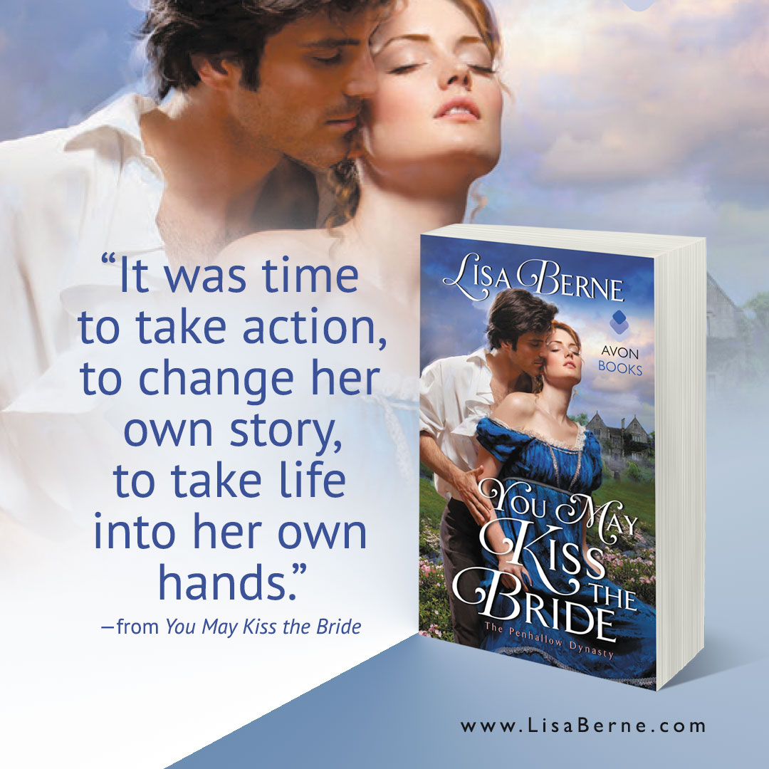 "Graphic: ""It was time to take action,"" a quote from You May Kiss the Bride by Lisa Berne (Avon Books)"