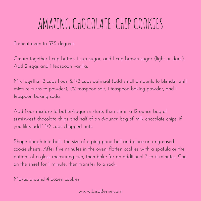 Graphic: a recipe for chocolate-chip cookies via author Lisa Berne