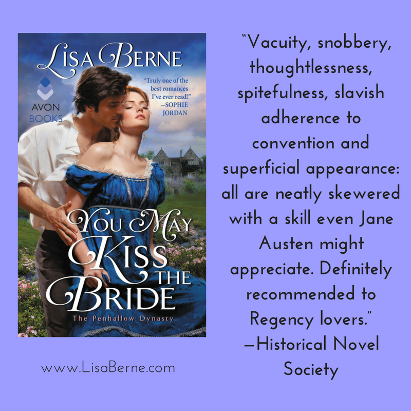 "Graphic: ""Vacuity, snobbery, thoughtlessness, spitefulness, slavish adherence to convention and superficial appearance: all are neatly skewered with a skill even Jane Austen might appreciate. Definitely recommended to Regency lovers."" -Historical Novel Society on You May Kiss the Bride by Lisa Berne (Avon Books)"