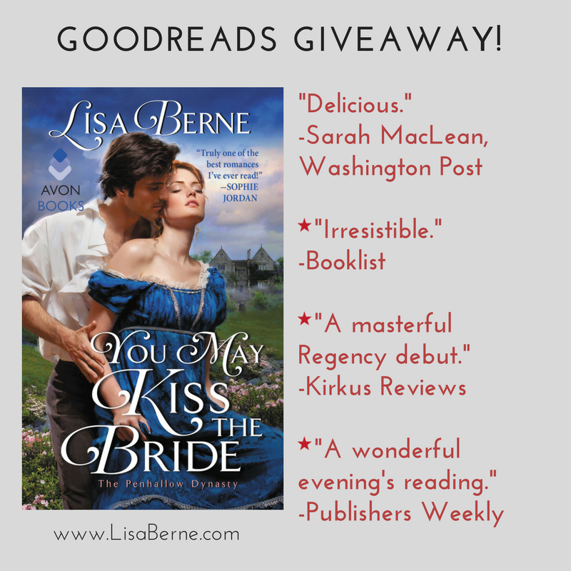 Graphic: Goodreads giveaway: You May Kiss the Bride by Lisa Berne (Avon Books)