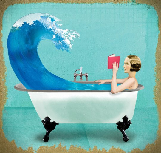 "Illustration: a woman reading in the tub: ""Quiet Night at Home"" by Ellen Weinstein"