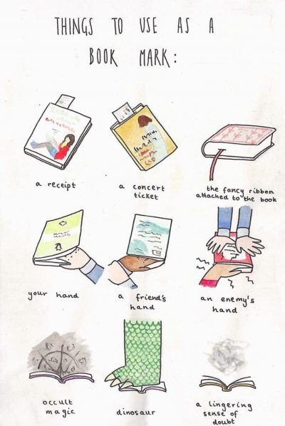 "Illustration: ""Things to use as a bookmark"""