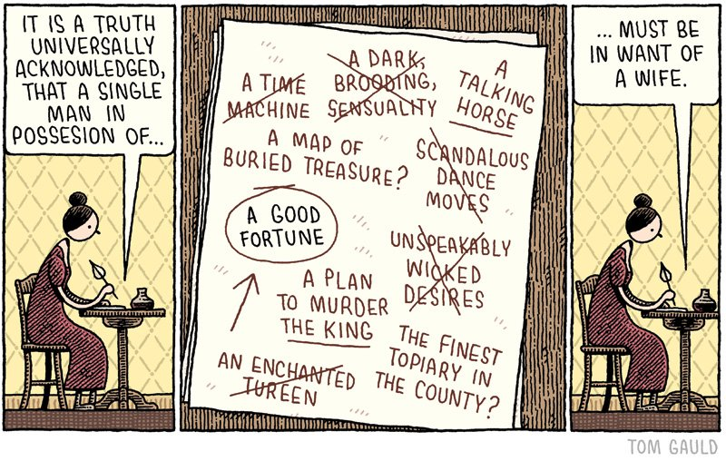 Illustration: Tom Gauld's playful speculation about Jane Austen's creative process in writing Pride and Prejudice