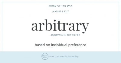"Graphic: ""arbitrary"" and its definition, via Merriam-Webster"