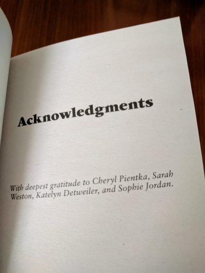Photo: acknowledgements for The Laird Takes a Bride by Lisa Berne (Avon Books)