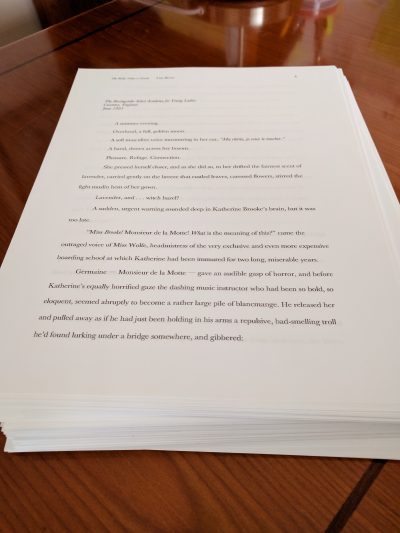 Photograph: the manuscript for The Bride Takes a Groom by Lisa Berne (Avon Books)