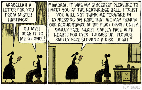 """A letter for you from Mr. Hastings"": a comic by Tom Gauld"