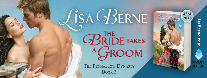 Graphic: Facebook banner for The Bride Takes a Groom by Lisa Berne (Avon Books, April 2018)