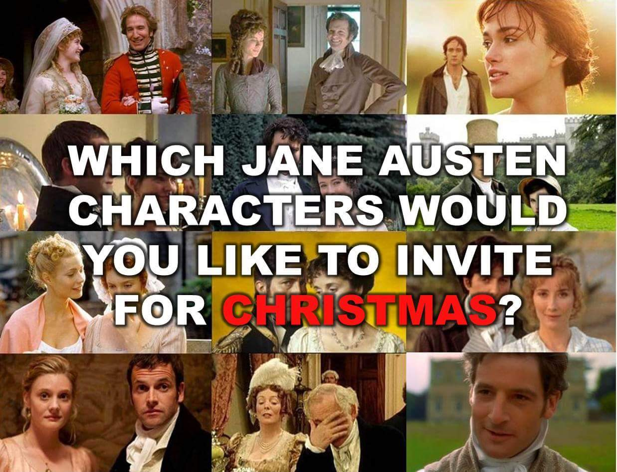 "Graphic: ""Which Jane Austen characters would you like to invite for Christmas?"""